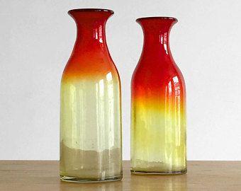 Paire de grands vases en verre soufflé – 2 Murano glass vase