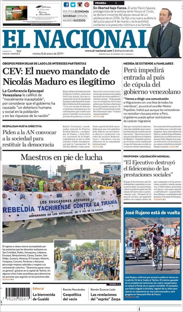 2019 01 08 Portada De El Nacional Venezuela Venezuela Periodico Nacional Nacionalidades