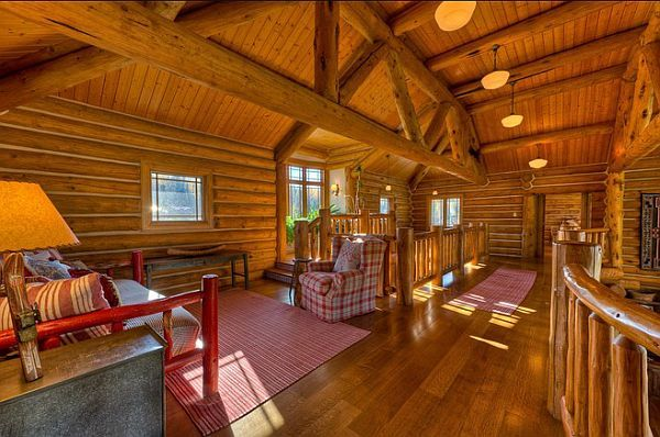 log-private-lake-house1  Five-bedroom, five-bath residence near Whitefish Lake for sale