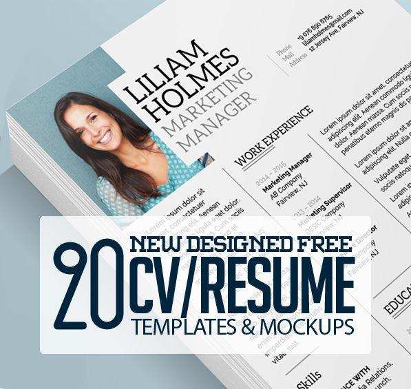 20 Free CV / Resume Templates & PSD Mockups