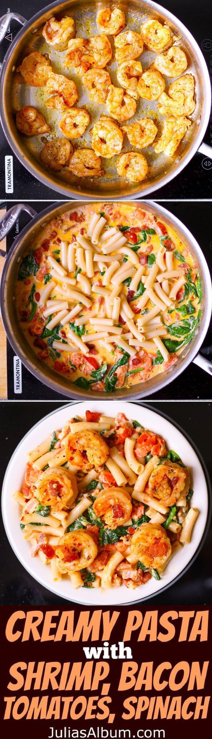 Creamy Pasta with Shrimp, Bacon, Spinach, Tomatoes, Garlic. (Bake Shrimp Recipes) #seafoodrecipes