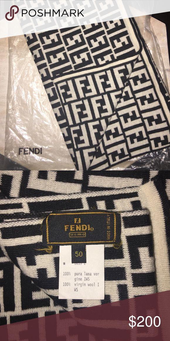 fendi scarf black/white reversible 100% wool fendi scarf; original plastic bag for protection Fendi Accessories Scarves & Wraps