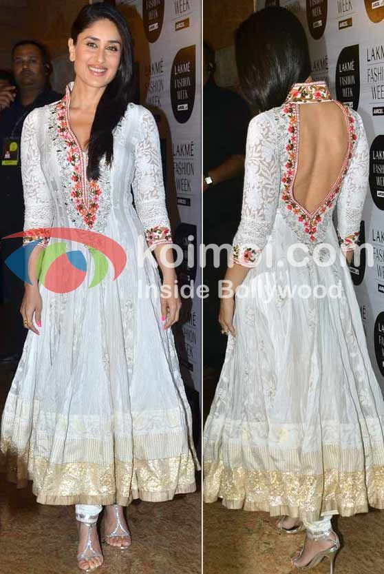 Kareena Kapoor At Lakme Fashion Week 2012 in Gorgeous Manish Malhotra Anarkali w/ Open Back