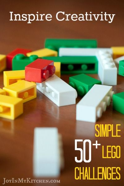 Use this list of 50+ lego challenges to inspire creativity the next time your kids stare blankly at their pieces and claim that they can't think of anything to build.