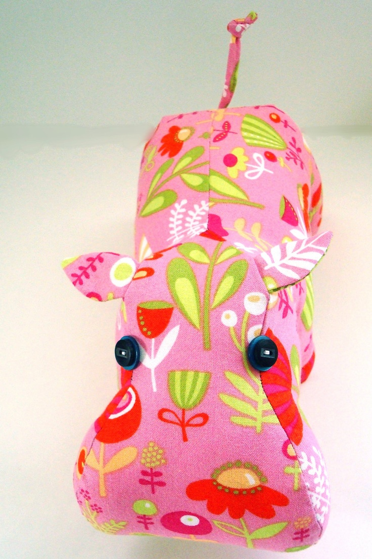 Pink and Green Hippo by KittyKittyCrafts on Etsy