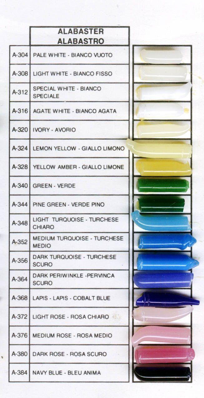 effetre moretti glass sample chart