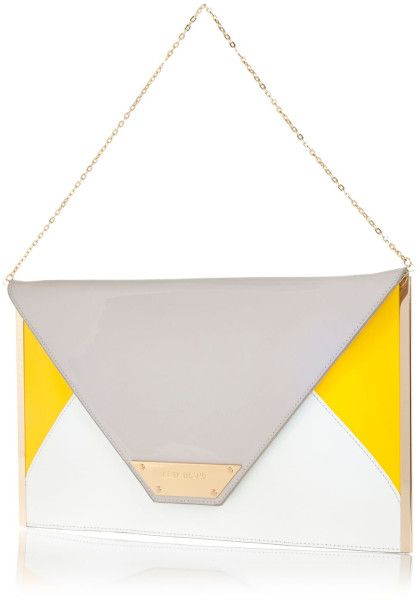 River Island Grey Color Block Large Envelope Clutch Bag in Yellow ...