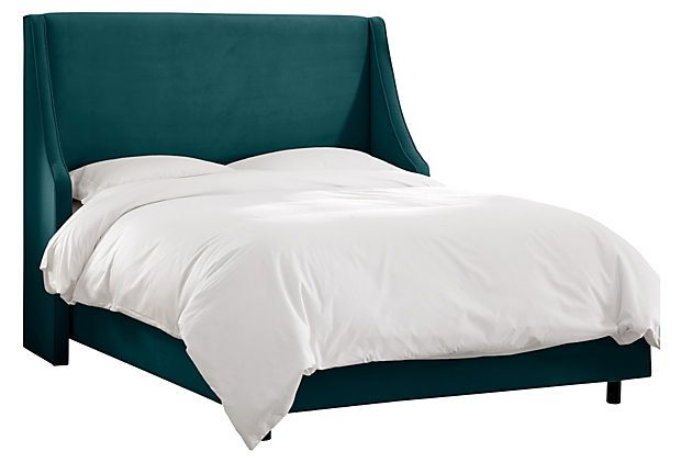 Davis Wingback Bed, Dark Teal on OneKingsLane.com: A nod to midcentury modern design, this headboard boasts a sleek swoop-arm profile and richly hued upholstery. Requires a mattress and a box spring. Handcrafted in the USA.