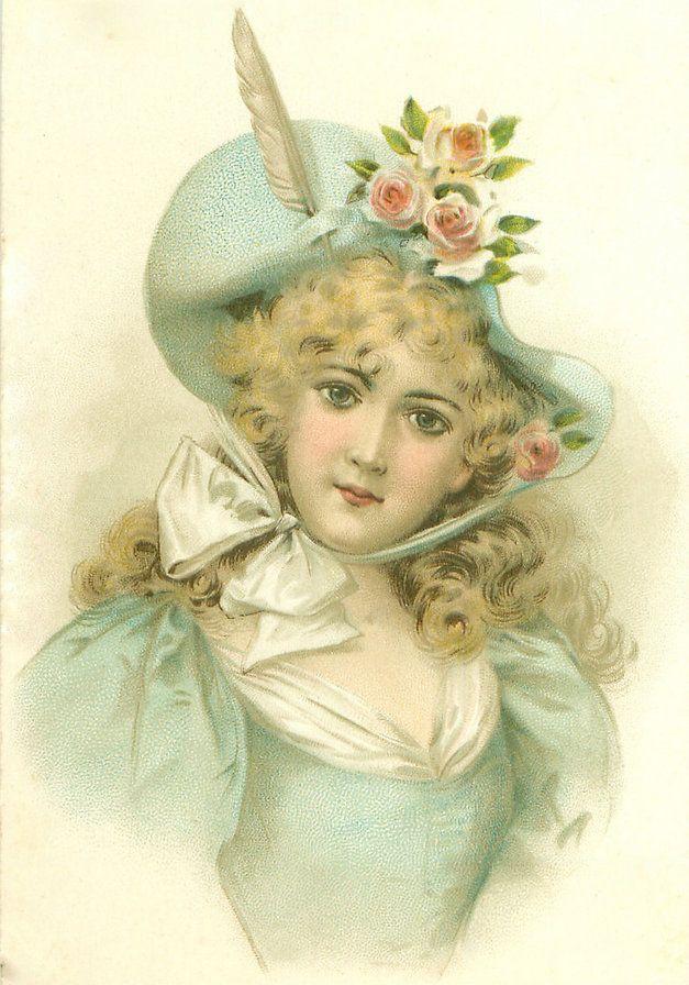 Рождестве английскому, открытки старинные женские