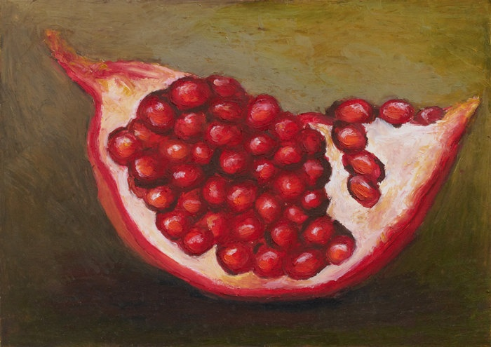 Giclee, Archival, Matted Print of an Original Oil Pastel Painting of a Pomegranite. $30.00, via Etsy.