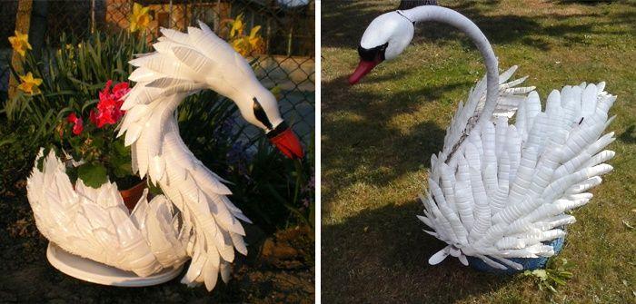 лебедь из бутылок пластиковых своими руками фото насыщенный цвет
