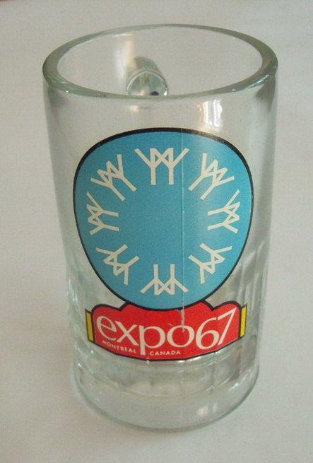 Vintage Expo 67 verre chope de bière Montréal, Canada