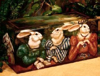 Rabbit chest with scholarly bunnies © 1986 Pamela Silin-Palmer