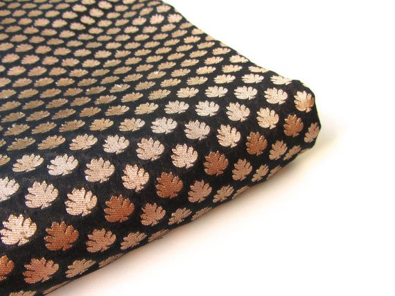black gold silk brocade indian silk fabric nr 98 fat door SilksByUmf
