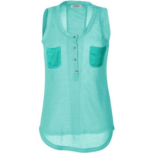 STEFFEN SCHRAUT Soft Jade Hot Summer Pocket Tank Top ($110) ❤ liked on Polyvore