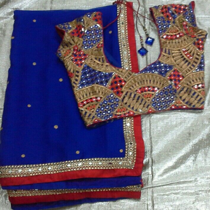 Chiffon saree with rawsilk patch and lace and cut work blouse 91 9866583602 whatsapp no 7702919644