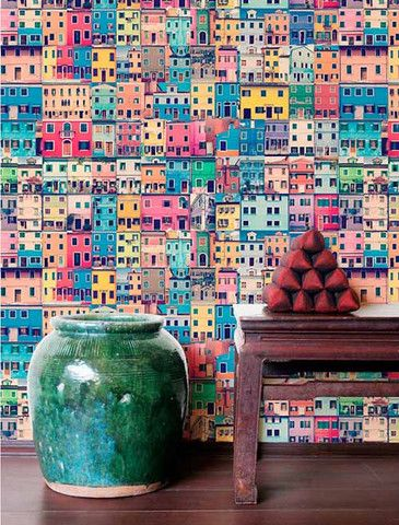 Painted Houses Wallpaper (Roll: 72cm x 10m)