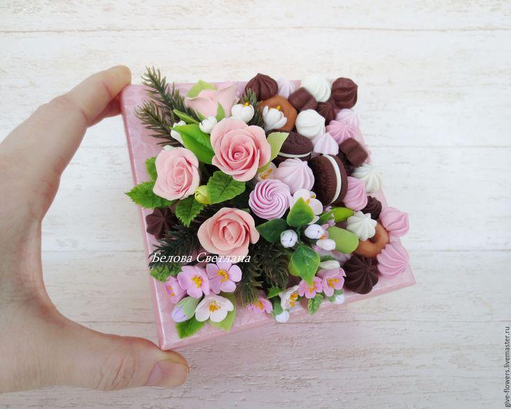 Купить Коробка с цветами и сладостями - подарочная коробка, сладкая коробка, вкусная коробка, декор коробки