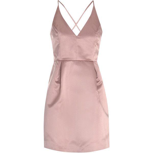 Dusty Pink Satin Skater Dress ($41) ❤ liked on Polyvore featuring dresses, pink, low back dress, pink day dress, surplice dress, deep v-neck dress and deep v neck skater dress