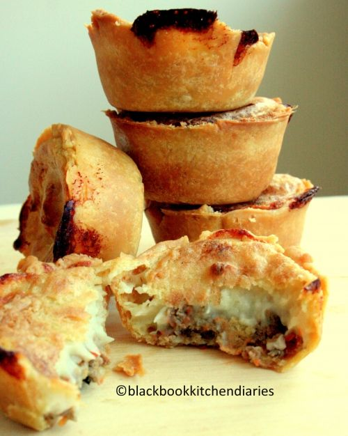 Little Meat and Potato Pies.  Not that I'd even consider following those complicated directions but a fun way to use up leftovers :)