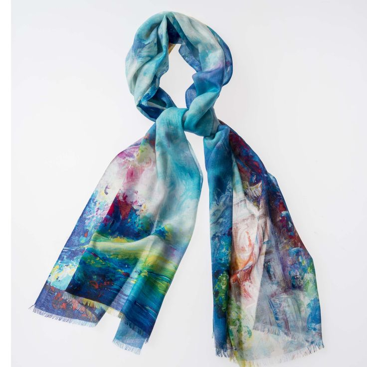 Printed Scarf 100% Clocktower Blue http://www.creswickwool.com/accessories/scarfs/printed-scarf-100-clocktower-blue.html
