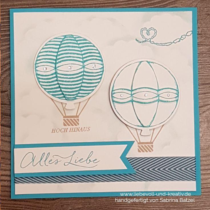 Glückwunschkarte, Stempelset Donnerwetter und Wir feiern von Stampin'Up! mit Framelits Ballons für den Heißluftballon