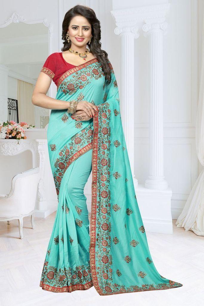 081c6fb3083dd Buy Rama Green Color Fancy Soft Silk Saree