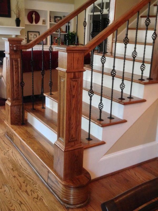 Image Result For Wrought Iron Stair Balusters Wood Newel Post Round Step Foyerdecorating Staircase Design Iron Stair Balusters Wooden Stairs