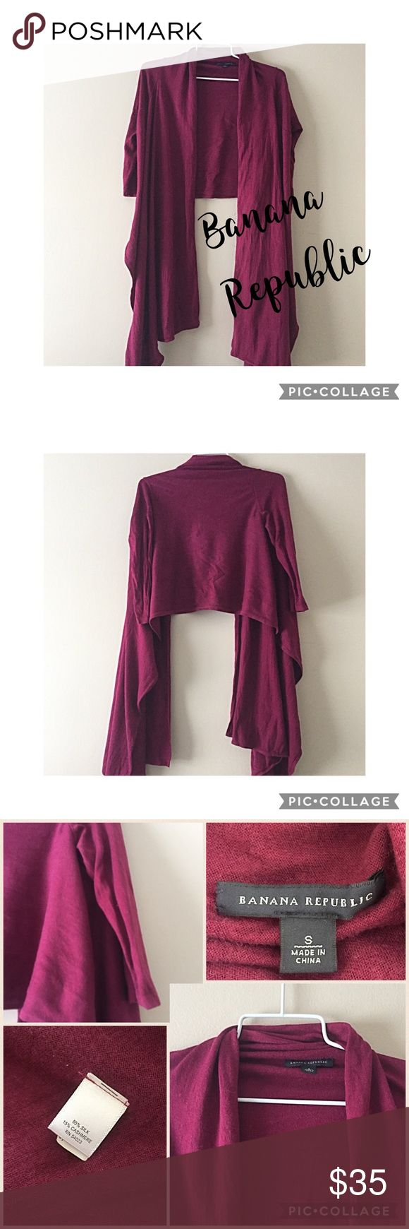"""Banana Republic cropped cardigan S Banana Republic cranberry 85% silk & 15% cashmere cropped cardigan with super long sides to wrap or tie. Great shape with tiny poking under arms, but not noticeable. Half sleeve. 16"""" bust, 18"""" long, and sides are 32"""" long. Make offers or bundle & save💖 Banana Republic Sweaters Cardigans"""