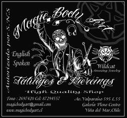 MAGIC Body Art es un nuevo concepto en estudios de arte corporal, tattoo y body piercing… este nuevo concepto apuesta a entregar una atención de excelencia al cliente… el cliente es asesorado en todo momento solo por personas calificadas, todo apoyado con las instalaciones mas modernas y seguras…