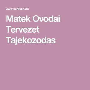 Matek Ovodai Tervezet Tajekozodas