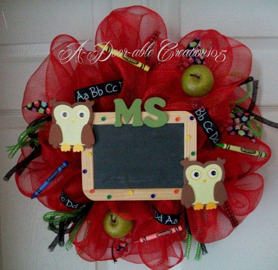 OWLS & CHALKBOARD...Teachers Deco Mesh Wreath via Etsy
