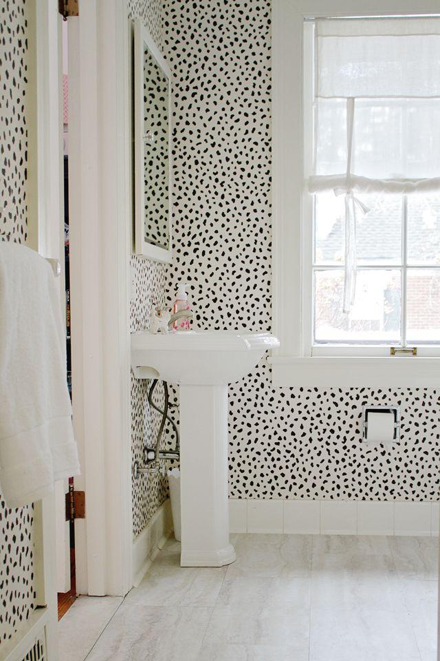 Thibaut Wallpaper Tanzania dalmation print wall paper. powder room. half bath