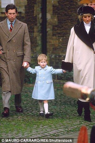 Harry pictured with Prince Charles and then Princess Diana in 1988...