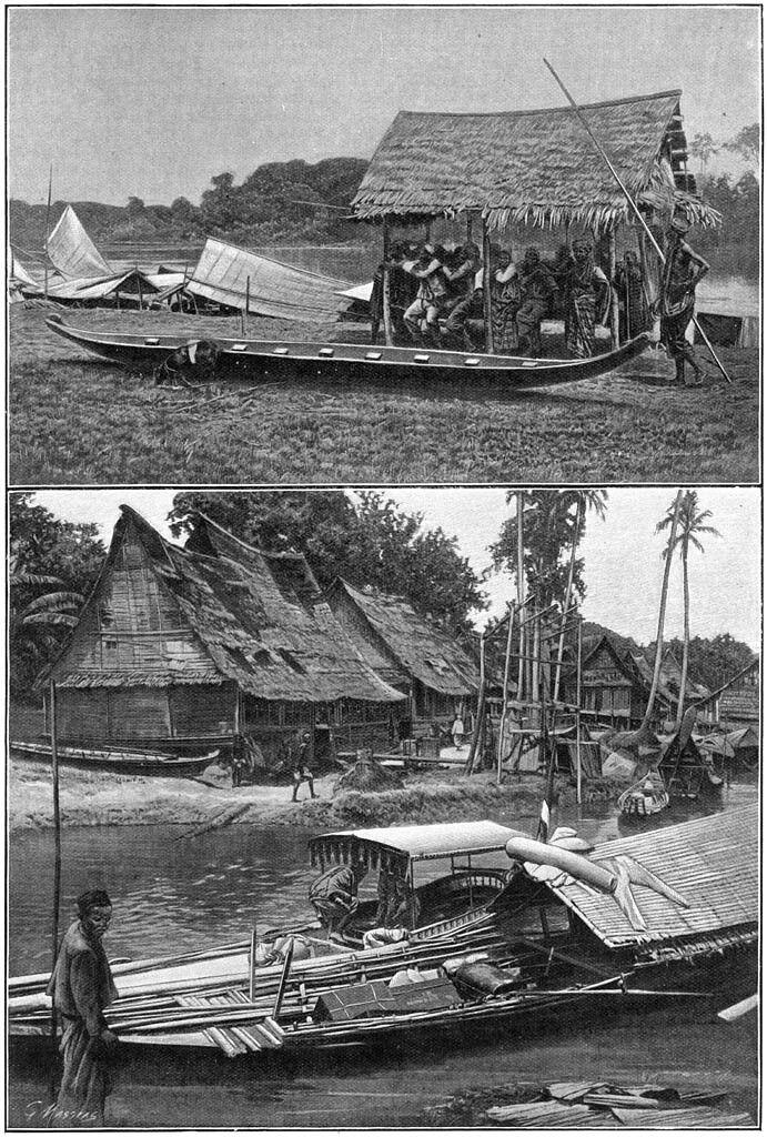 Huizen en booten in Kampar rivier 1904.