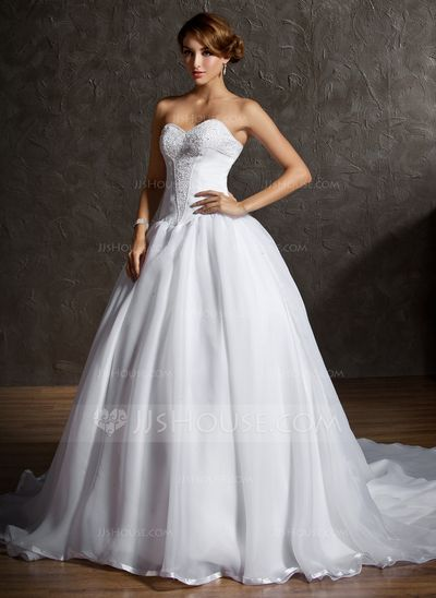 Wedding Dresses - $182.99 - Ball-Gown Sweetheart Chapel Train Organza Satin Wedding Dress With Lace Beading (002011600) http://jjshouse.com/Ball-Gown-Sweetheart-Chapel-Train-Organza-Satin-Wedding-Dress-With-Lace-Beading-002011600-g11600