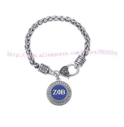 ZETA PHI BETA Crystal Circle Silver Bracelet Jewelry Rush sister Gift