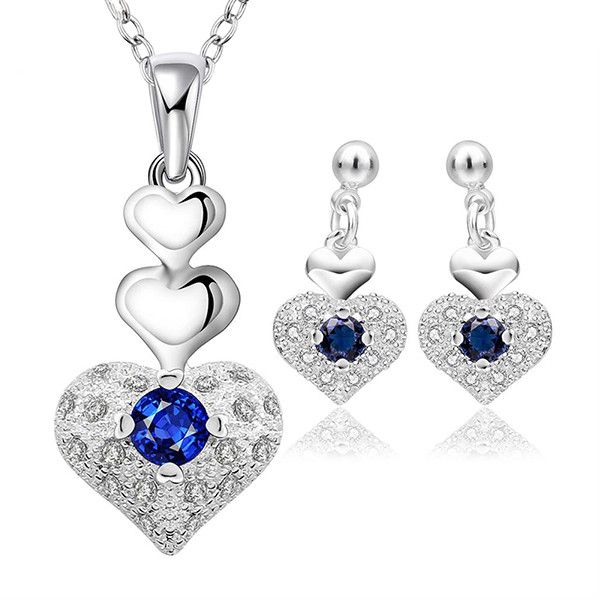 Elegant Sterling Silver Heart Shaped Jewelry Set With Necklace and Earrings