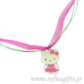 Κολιέ Hello Kitty ροζ με φούξια κορδέλα και πολύχρωμη κηροκλωστή - Είδη σπιτιού και χειροποίητες δημιουργίες   Σοφία