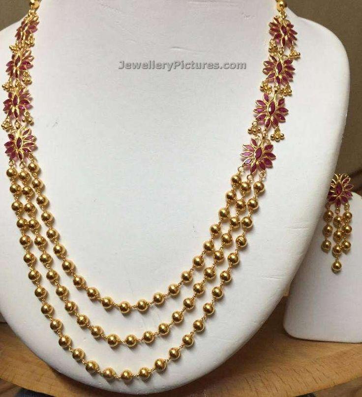 22 cart gold Gundla Haram designs latest collection