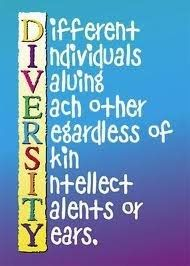 DIVERSITY:     D.ifferent    I.ndividuals    V.aluing    E.ach other    R.egardless of     S.kin    I.ntellect    T.alents or    Y.ears