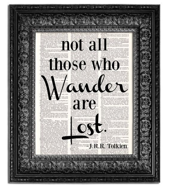 Not All Who Wander Are Lost Poster Print, Tolkien quote on Vintage Dictionary Page, art print, wall decor, Dorm Room Decor on Etsy, $10.00