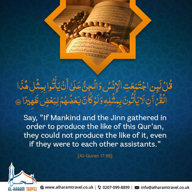 "The #QuranicVerse focusing on the importance of The #HolyQuran, #MashaAllah.  Say, ""If Mankind and the Jinn gathered in order to produce the like of this Qur'an, they could not produce the like of it, even if they were to each other assistants.""  [Al-#Quran 17:88]  #JummaMubarak #Islam #MuslimUmmah #Salah #HolyUmrah #Umrah2018 #Hajj #Hajj2018 #AlharamTravel"