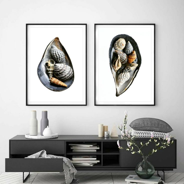 Set of 2 shell printscoastal wall artseashell artworks