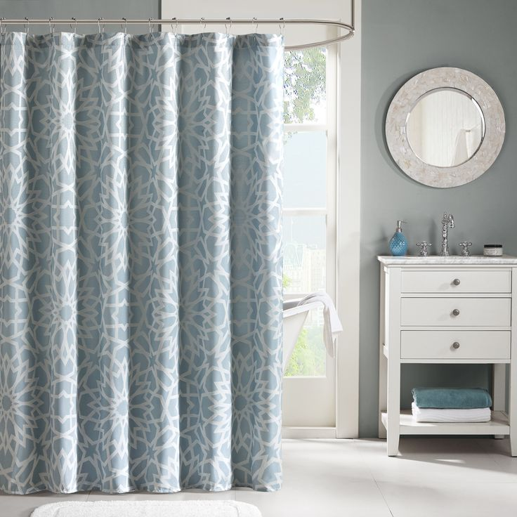 Update your space with the Madison Park Cecilia Shower Curtain. This modern glam  shower curtain features a dusty blue base with silver metallic printing for  ... - 58 Best Shower Images On Pinterest Shower Curtains, Fabric