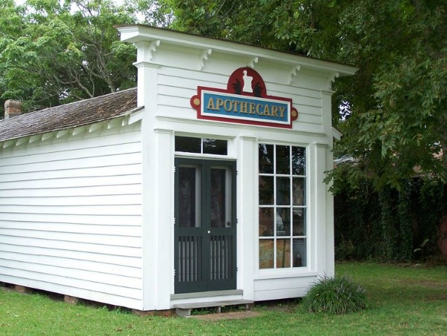 The Apothecary Shop and Doctor's Office, c1859.  Built in 1859, the apothecary remains essentially unchanged in appearance. It houses a priceless collection of medicinal and pharmaceutical artifacts, most of which are original to the shop, that make it very popular with residents and visitors alike. (Photo by Beaufort Historic Site)