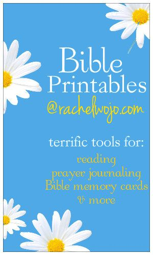 Bible printables of all kinds: Bible reading plans for children and adults alike, memory verse cards, Bible journaling, prayer journals and MORE!