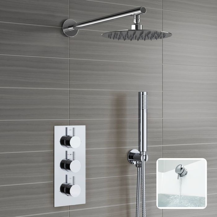 Round Concealed Thermostatic Mixer Shower Kit Medium Head Bath