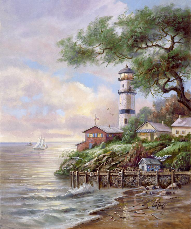 Beacon Light Bay by Carl Valente ~ lighthouse ~ beach ~ sailboat