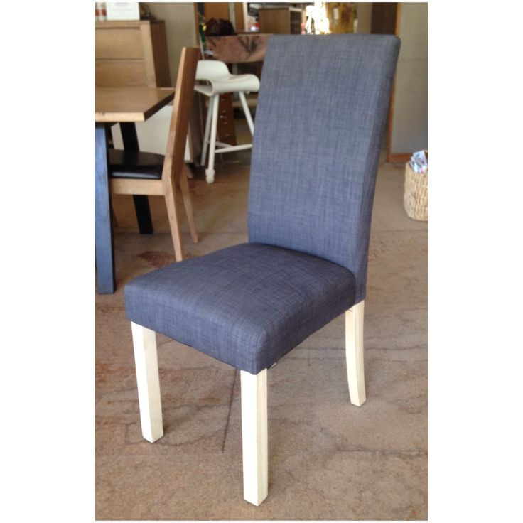 The high back linen dining chair in 'Slate' for sale at Wildflower Furniture. Also available in 'Ash', 'Mocha', 'Almond' and 'Pumice'.